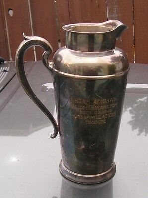 Ww2 Us Navy Silver-Plated Water Pitcher Engraved To Rear Admiral 1942 Named