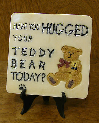 "Boyds Accessory #4164 MESSAGE TILE, 4x4 ""Have you Hugged Your Teddy Bear Today"""