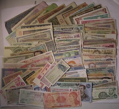 80 + different WORLD CURRENCY paper money banknotes