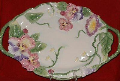 Fitz and Floyd HALCYON Platter BIG Easter Serving Plate Dish Pansy Pansies NEW