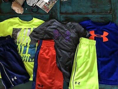 Boys Under Armour Shirts and Shorts Size 6
