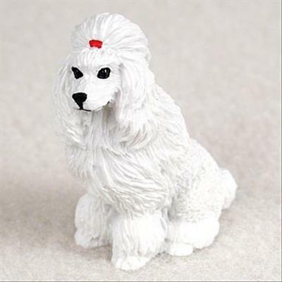 Poodle White Show Cut Dog Tiny One Miniature Small Hand Painted Figurine