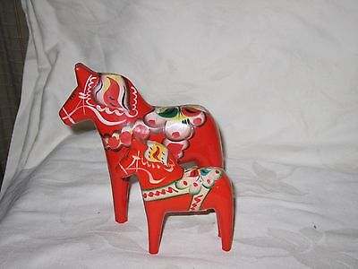 2 Vintage Swedish Dala Horses - Nils Olsson - 6 And 4 Inches Tall Sweden