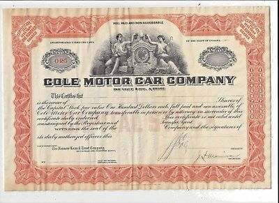 Stk-Cole Motor Car Co. Indianapolis, IN 1909-1925 Orange s/p J. J. Cole  See #4