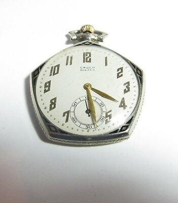 Rare 5 Sided Enameled Gruen Verythin Pocket Watch 15 Jewel