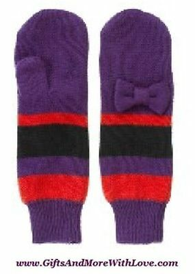 Janie and Jack NWT Purple STRIPED WINTER CHEER COTTON BOW DRESS MITTENS 6 9 12 M