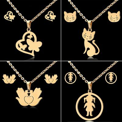 Stainless Steel Gold Plated Girl Cat Heart Pendant Necklace Earrings Jewelry Set