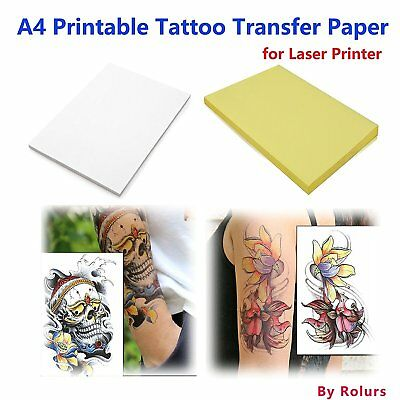 10 Sheets Laser DIY A4 Temporary Tattoo Transfer Paper Printable Customized