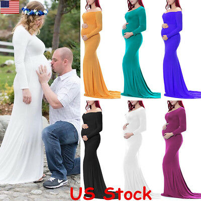 Womens Long Sleeve Off Shoulder Maternity Party Gown Maxi Photography Dress USA