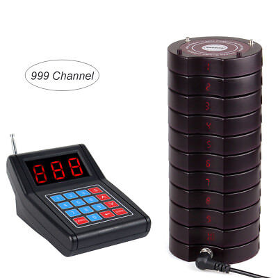 Restaurant Wireless Calling Paging Queuing System Transmitter+10*Coaster Pager