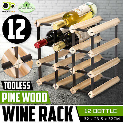 12 Bottle Timber Wine Rack Wooden Storage System Cellar Organiser Stand Display