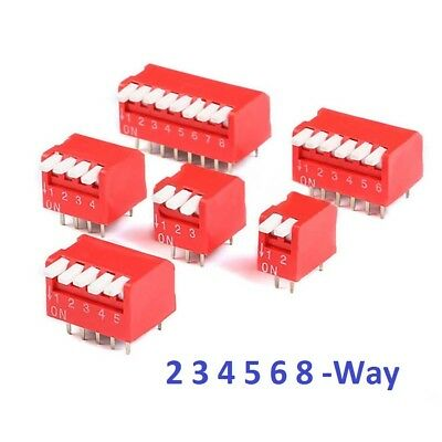 Red 2/3/4/5/6/8 Way Piano DIP DIL Toggle Switch Pitch 2.54mm PCB