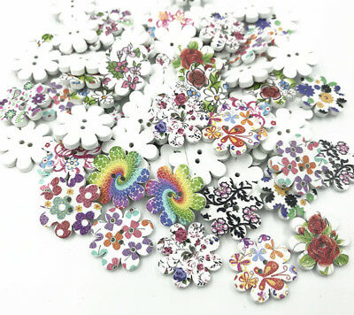 50X Wood button Flower Mixed Printing Sewing decoration scrapbooking crafts 20mm