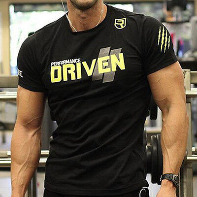 Vogue Mens Crossfit Fitness T-Shirts Gym Wear Workout Sport Printing Basic Tee