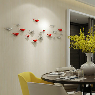 3D Birds Wall Hanging Resin Decoration Art Simple Modern Craft Ornament Decor & SET OF 3 Small WHITE Ceramic Flying Swallows Birds Wall Art Hangings ...