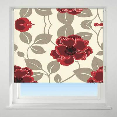 Universal Papavero Patterned Thermal Blackout Roller Blind, Red