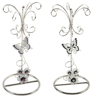 Butterfly Flower Crystal Jewellery Display Jewelry Stand Ring Holder Ladies Gift