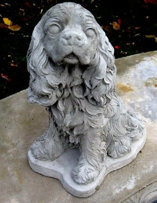 Concrete Cocker Spaniel Or Cavalier King Charles   Statue / Memorial / Grave