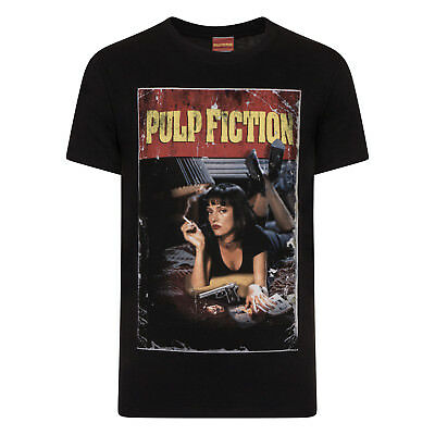 917c7670 Pulp Fiction Official Gift Mia Wallace Vintage Poster Shot Mens T-Shirt