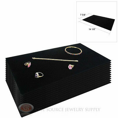 (12) Black Plush Soft Velvet Jewelry Display Counter Display Pads Tray Liners