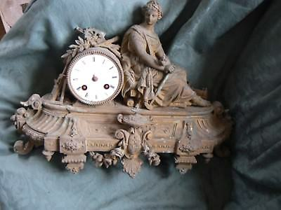 Pretty Antique French Metal Clock For Parts / Spares Poss. Restore ?