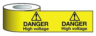 Electric DANGER HIGH VOLTAGE 75mm x 100m Non Adhesive Barrier Warning Tape (229)