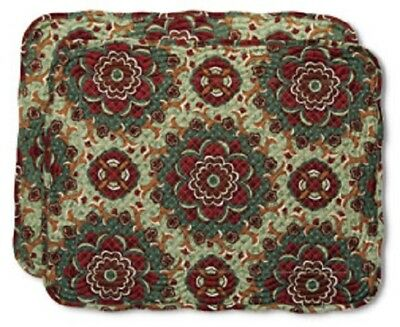 Longaberger  AUTUMN ROADS Quilted Fabric Placemats  Set of 2