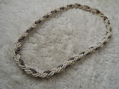 White Gray Micro Bead Braid Necklace (D35)