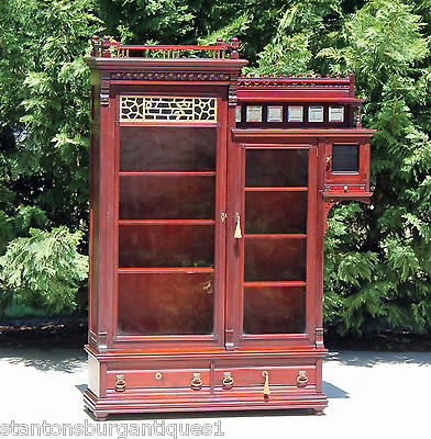 Aesthetic Victorian Solid Mahogany Bookcase wSide Cabinet & Gallery 2 Keys c1890