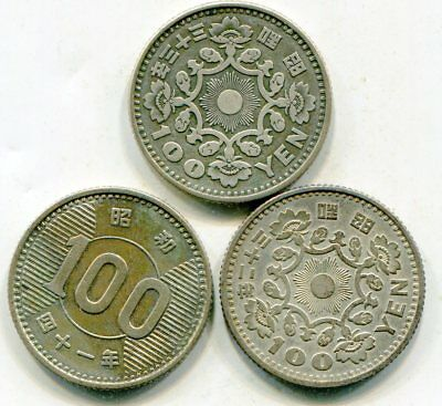 Japan 100 Yen silver issue coins lot of (3) lotmar2759