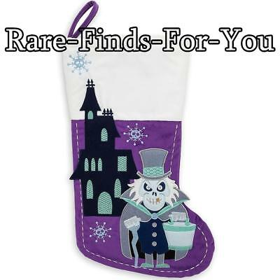 Disney Park Haunted Mansion Hatbox Ghost Halloween Christmas Stocking (NEW/TAGS)