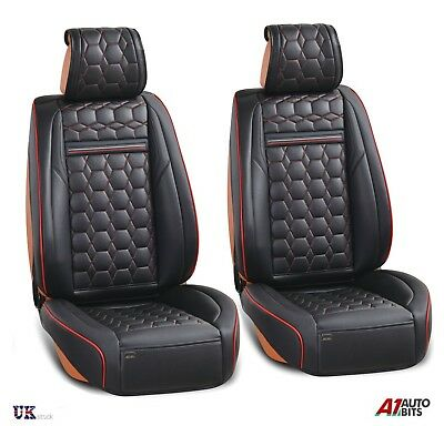 Deluxe Quality Black 1+1 PU Leather Front Seat Covers Padded For