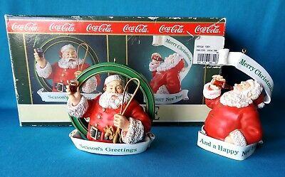 Coca-Cola Trim A Tree  Collection 1992 Season's Greetings & Happy New Year Set