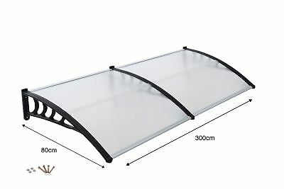 Front Door Canopy Porch Rain Protector Awning Lean-To Roof Shelter 80 X 300cm