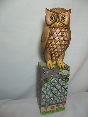 """Retired 2005 Jim Shore Signed Perched Owl Piece Heartwood Creek 14.5"""" Large"""