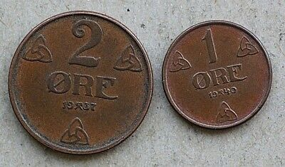 Lot of 2 Coins, Norway 1937 2 Ore, 1940 1 Ore