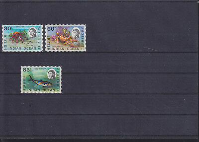 060187 Fische Fish ... British Indian Ocean Territory 36-38 ** MNH Year 1970