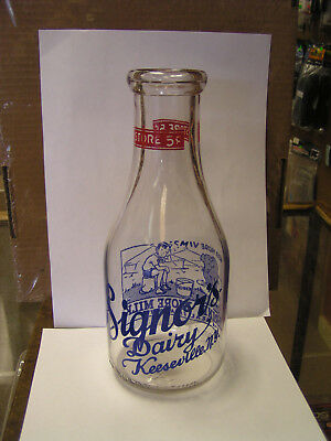 Beautiful Keeseville New York PYRO Milk Bottle Signor's Dairy Boy & Elephant