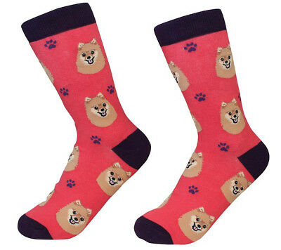 Pomeranian Socks Unisex Red