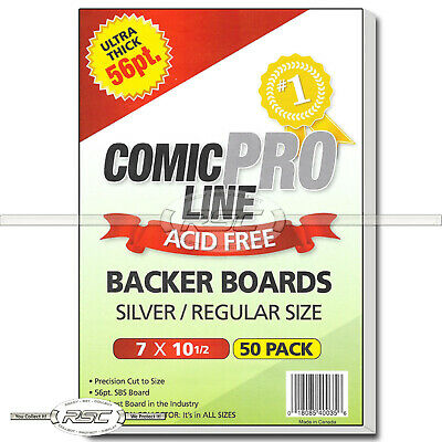 "50 - Comic Pro Line Silver / Regular 56pt Premium Backer Boards - 7"" x 10-1/2"""