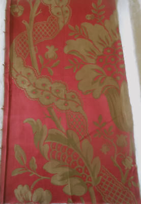 Antique 19thc French Floral Silk Brocade Fabric ~ Lg. Fragment #2~ Red Gold