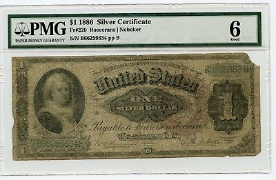 Large Size $1 1886 Silver Certificate Note Fr#220 (Good 6)  PMG.