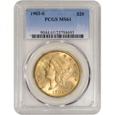 US Gold $20 Liberty Head Double Eagle - PCGS MS61 - Random Date