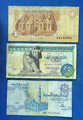 Egypt 1 Pound, 25 Piastres x2 different types. Circulated