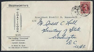 CANADA 1941 FROM THE PRIVATE COLLECTION OF PRESIDENT FRANKLIN D ROOSEVELT c/o
