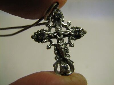 PRAYER ! VERY NICE OLD VINTAGE STERLING SILVER CROSS / STONES with CHAIN  #6992