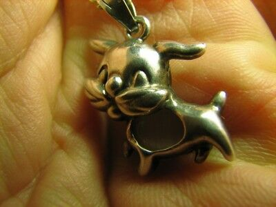 RABBIT ! NICE OLD VINTAGE STERLING SILVER  PENDANT / STONE  with CHAIN  #19