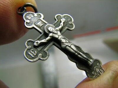 Nice Relief ! Prayer ! Sterling Silver Vintage Church Cross Pendant #68