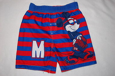 Toddler Boys MICKEY MOUSE SWIM TRUNKS Red Blue Stripe LINED Disney SIZE 3T