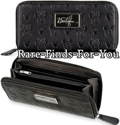 Disney Parks Boutique Mickey and Minnie Mouse Embossed Black Zipper Wallet (NEW)